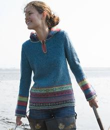 Gentle A-line flare and bell sleeves grace this hoodie reminiscent of a medieval tunic. A classic knit with playful punch.