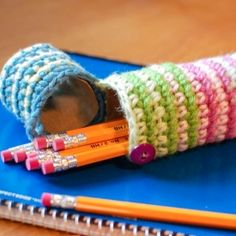 Add a personal touch to your child's back-to-school gear with this fun crochet pencil case!