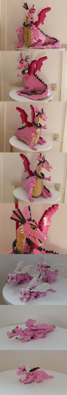 Dragon from Shrek made out of Lego. This takes serious skill. Shrek Dragon, Lego Dragon, Lego Toys, Lego Duplo, Lego Sculptures, Dragons, Lego Animals, Amazing Lego Creations, Lego Boards