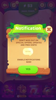 Under a spell - game ui - notification