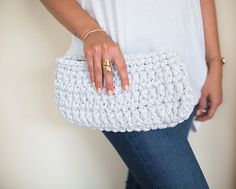 Crochet Clutch Light Gray Clutch Crochet Handbag by NeedleandLine