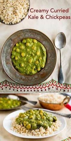Creamy Curried Kale and Chickpeas: You won't believe this rich, creamy, Indian dish is vegan and contains no oil.