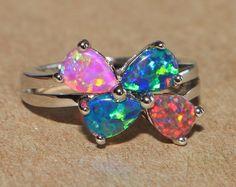 fire opal ring gemstone silver jewelry Sz 6.5 modern elegant cocktail R76 #Band