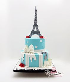 Blue Eiffel Tower Cake...i totally love everything about this cake...