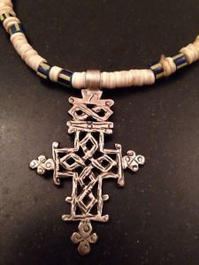 Antique Coptic Christian Cross Silver Pendant on Shell Disc Necklace | eBay