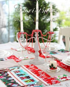 Step-by-step Christmas Placemats & Coasters Tutorial, Fabric from Modes4U.com #sewing #christmas