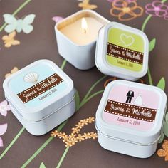 Square Personalized Candle Tins - Candle & Votive Wedding Favors - Wedding Favors - Wedding Favors & Party Supplies - Favors and Flowers
