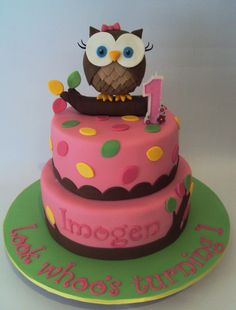 """Look Whoo's Tunring 1, Girly Owl Cake in """"Children's Birthday Cakes"""" — Photo 2 of 3"""