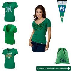 New York Yankees Women's St. Patrick's Day Collage/Outfit #Yankees www.fansedge.com/New-York-Yankees-St-Patricks-Day-Merchandise-_-779157780_PG.html?social=pinterest_22613_stpats_wyankees