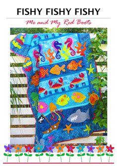 Fishy Fishy Fishy PDF Quilt Pattern от TheRedBootQuiltCo на Etsy
