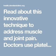 Read about this innovative technique to address muscle and joint pain. Doctors use platelet-rich plasma or dextrose injections to create inflammation that, in turn, stimulates natural restoration of damaged joints and tissues.