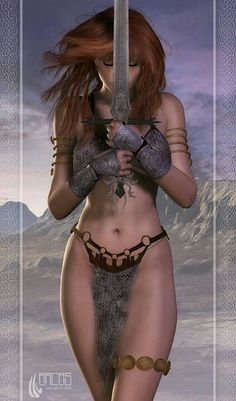 "Red Sonja became the archetypal fantasy figure of a fierce and beautiful female barbarian. She was ranked first in Comics Buyer's Guide's Sexiest Women in Comics"" list. 3d Fantasy, Fantasy Warrior, Fantasy Women, Fantasy Girl, Fantasy Artwork, Fantasy Images, Red Sonja, Comic Art, Comic Books Art"