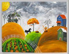Folk Art Farm Scene--- four seasons... to remind her of her family's home