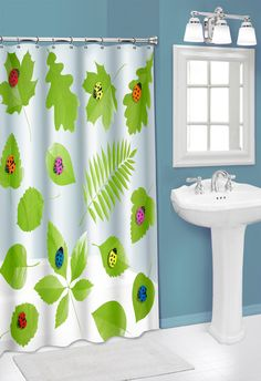 Sweet Home Collection Ladybugs 3D PEVA Shower Curtain