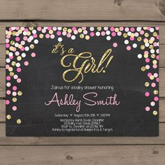 Confetti Pink and Gold Baby Shower Invitation door Anietillustration