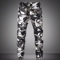 Men's Spring Large Size Drawstring Pencil Camo Painting Casual Pants ($36) ❤ liked on Polyvore featuring men's fashion, men's clothing, men's activewear, men's activewear pants, mens activewear pants and mens activewear
