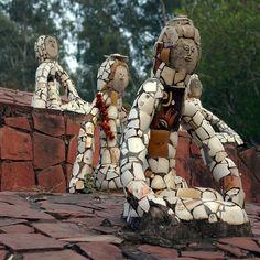 Nek Chand | Mosaic art sculptures at the Rock Garden of Chandigarh. Chandigarh, India
