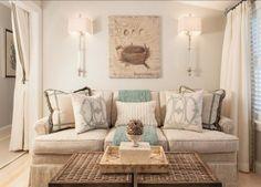 Family Room. Family Room Decor Ideas. Neutral family room with coastal decor. Pillows are from Aidan Gray Home. #FamilyRoom #FamilyRoomDecor #FamilyRoomIdeas #FamilyRoomDesign #FamilyRoomLayout