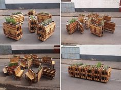This is awesome!  r1 recycles wooden pallets into interlocking mobile benches for johannesburg