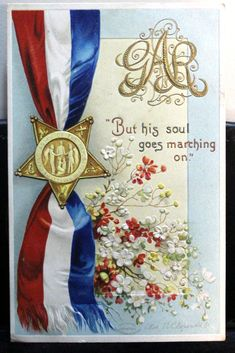 Beautiful G. colorful Patriotic Postcard signed by Ellen clapsaddle. His soul goes marching on by JerryBurton on Etsy