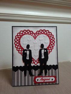 Two Grooms Wedding Card by Ink-Creatable Works of Heart (PTI Man & Wife die, hearts die, heart border die, heart EF)