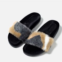 Image 5 of FAUX FUR SLIDES from Zara