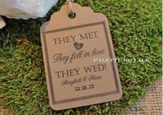 50 Personalized Printed KRAFT Wedding FAVOR TAG by paletteroyale, $14.00
