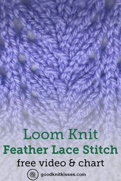 How to loom knit the Feather Lace Stitch tutorial video and free baby blanket pattern goodknitkisses loomknit loomknnitting loomstitches howtoloomknit beginnerloomknitting loomknitvideos loomknittutorial Loom Knitting Blanket, Loom Blanket, Round Loom Knitting, Loom Knitting Stitches, Knifty Knitter, Loom Knitting Projects, Knitting Blogs, Knitted Blankets, Sock Knitting