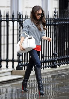 Celebrities in Boots: Victoria Beckham in Christian Louboutin Knee High Boots. London, 02.01.2013.