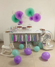 allestimento lilla e verde acqua per un party specialissimo <3