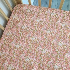Image of Pink/gold/white dot fitted cot sheet
