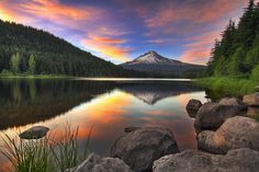 Sunset at Trillium Lake with Mount Hood - Government Camp, Oregon, US