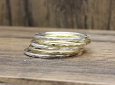 sterling silver and vermeil gold hammered by handcraftmine on Etsy