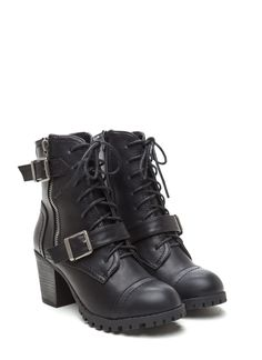 Double Buckle Faux Leather Combat Booties BLACK