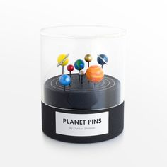 Tokyo-based industrial designer Duncan Shotton (previously) is known for his unique approach to houseware and stationery design, where he takes common objects from pencils to bookmarks and conceives of a novel twist. His latest creation is a series of push pins designed to look like the solar system