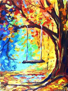 Swing: Warm and cool colors play against each other. Notice the puddle has leave on top, and reflects the sky color: (R) #gingercookstudios #gingercooklive # art