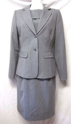 ALEX MARIE Gray Pinstripe DRESS+JACKET SUIT poly/wool/spandex sz M/8 exc cond #AlexMarie #DressSuit