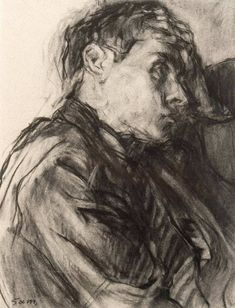 "thunderstruck9: "" Sam Dillemans (Belgian, b. 1965), Portrait de jeune garçon [Portrait of a young man]. Charcoal on paper, 31 x 24 cm """