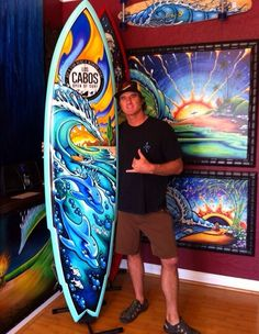 Drew Brophy painted surfboard. Awesome!