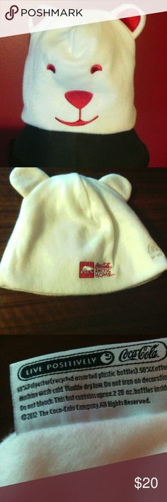 Coca Cola Coke polar Bear soft fleece cap hat cute Adorable, one size fits most adult, 50% polyester (recycled assorted plastic bottles) 50% cotton, coke promo item from 2012 ,great gift for any coca cola lover or collector Coca Cola Accessories Hats
