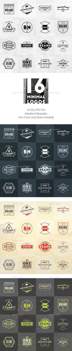 Set of 16 Minimal Logos #design Download…