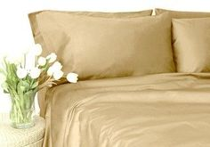 Soft Linen Collections 16 Inch deep pocket Fitted Sheet 600 Thread Count CalKing 100 Egyptian Cotton Beige Solid by BN3 Linens