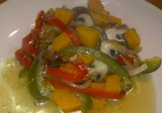 Butternut Squash Braise with Red and Green Peppers and Criminis.  Healthy, Vegan, Gluten-Free, High Fiber, Low Fat