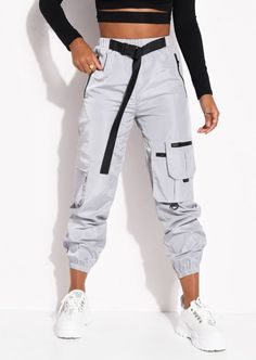 Belted Reflective Utility Buckle Jogger Trousers Grey - Source by - Cute Comfy Outfits, Sporty Outfits, Swag Outfits, Retro Outfits, Stylish Outfits, Buckle Outfits, Cute Sweatpants Outfit, Cargo Pants Outfit, Cargo Pants Women