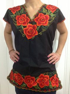 Embroidered Orange Flowers Peasant Top Blouse by Vtgantiques