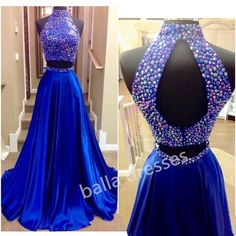 Royal Blue Side Split Prom Dresses 11330