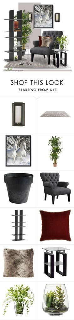 """White Horses"" by emjule ❤ liked on Polyvore featuring interior, interiors, interior design, home, home decor, interior decorating, Framburg, Nearly Natural, Novelty and Mitchell Gold + Bob Williams"