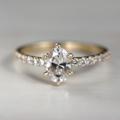 Oval Six-Prong Pave Solitaire Delicate Engagement Ring, Perfect Engagement Ring, Gemstone Engagement Rings, Engagement Ring Cuts, Solid Gold, White Gold, Moissanite Diamond Rings, Delicate Rings, Conflict Free Diamonds