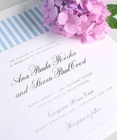 Sky Blue Striped Wedding Invitation Vintage por ShineInvitations