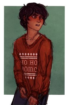 Anonymous: Omg you should draw Nico in the ho ho homo jumper and him being so done cause Percy gave it to him as a gift on Christmas   art by lazyleezard